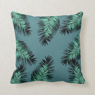 leaves of palm with green bottom throw pillow