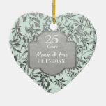 Leaves of Silver 25th Wedding Anniversary Ornament