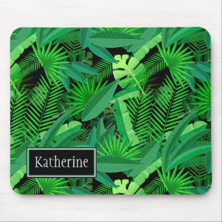 Leaves Of Tropical Palm Trees | Add Your Name Mouse Pad