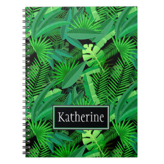 Leaves Of Tropical Palm Trees | Add Your Name Notebook