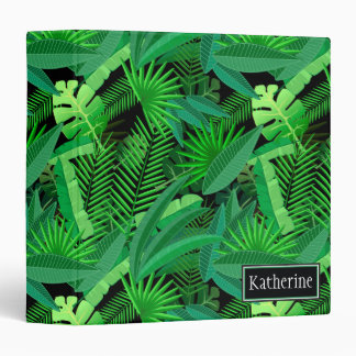 Leaves Of Tropical Palm Trees | Add Your Name Vinyl Binder