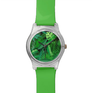 Leaves Of Tropical Palm Trees Wrist Watches
