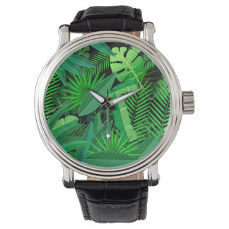 Leaves Of Tropical Palm Trees Wristwatch