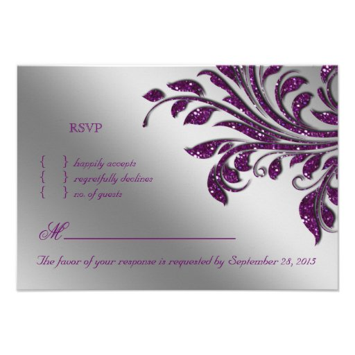 Leaves RSVP Wedding Reply Card Purple Sparkle Personalized Invitation