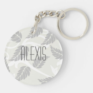 Leaves & Swirls Neutral Double-Sided Round Acrylic Keychain
