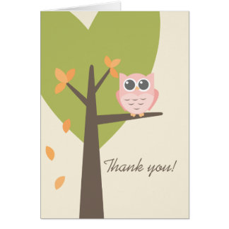 Leaves Tree Pink Owl Autumn Baby Shower Thank You Card