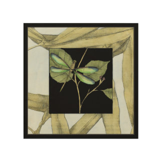Leaves with Dragonfly Inset by Jennifer Goldberger Wood Print