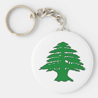 Lebanese Cedar Basic Round Button Keychain