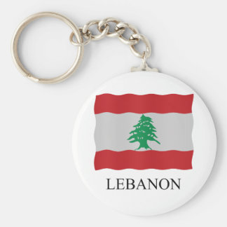 Lebanon flag basic round button keychain