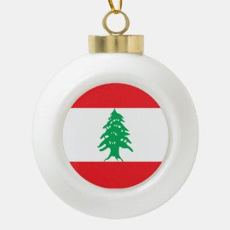 Lebanon Flag Ceramic Ball Christmas Ornament