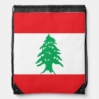 Lebanon Flag Drawstring Bag