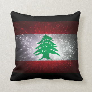 Lebanon Flag Firework Throw Pillow