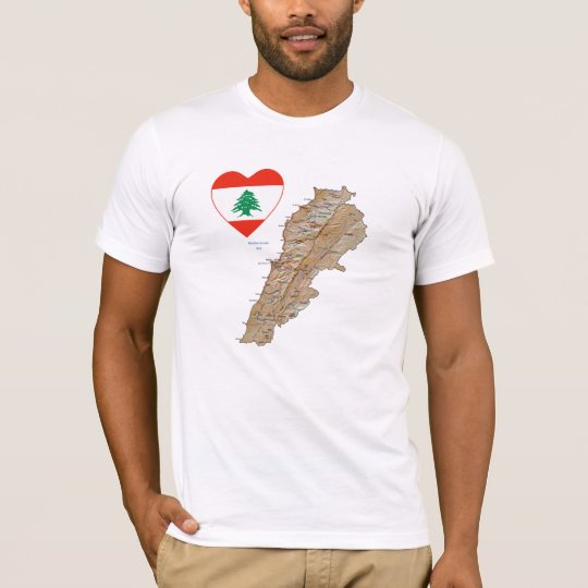 Lebanon Flag Heart and Map T-Shirt