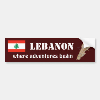 Lebanon Flag + Map Bumper Sticker