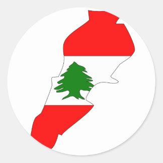 Lebanon flag map classic round sticker