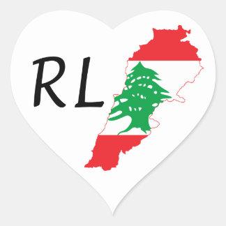Lebanon Flag Map Heart Sticker