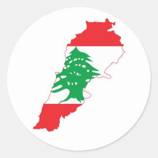Lebanon Flag Map Round Sticker