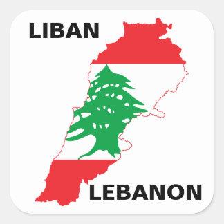 Lebanon Flag Map Square Sticker