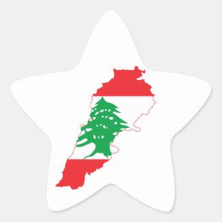 Lebanon Flag Map Star Sticker