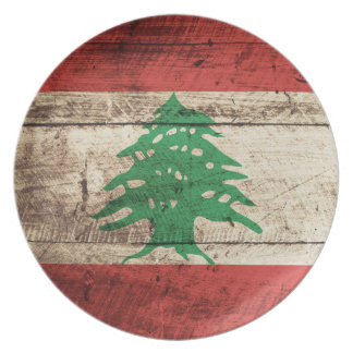 Lebanon Flag on Old Wood Grain Plate