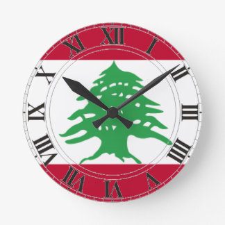 Lebanon Flag Round Clock