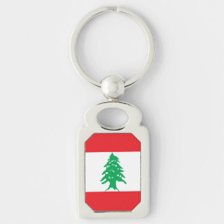 Lebanon Flag Silver-Colored Rectangle Keychain