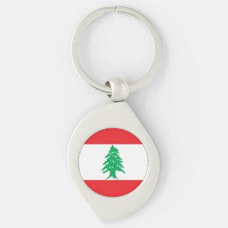 Lebanon Flag Silver-Colored Swirl Keychain