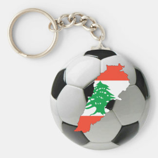 Lebanon football soccer basic round button keychain