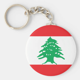 Lebanon National World Flag Basic Round Button Keychain