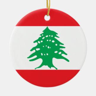 Lebanon National World Flag Ceramic Ornament