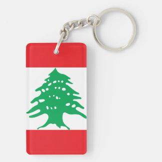 Lebanon National World Flag Double-Sided Rectangular Acrylic Keychain