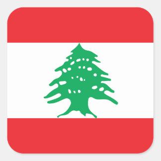 Lebanon National World Flag Square Sticker