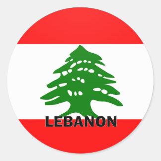 Lebanon Roundel quality Flag Classic Round Sticker