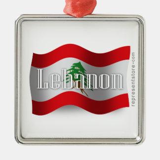 Lebanon Waving Flag Metal Ornament