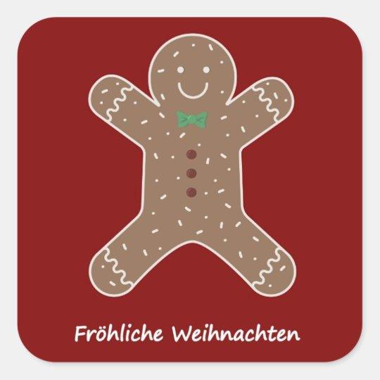 Lebkuchenmann Fröhliche Weihnachten Square Sticker