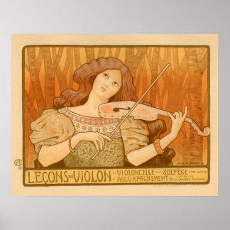 Lecons Music Violin Girl Vintage Poster