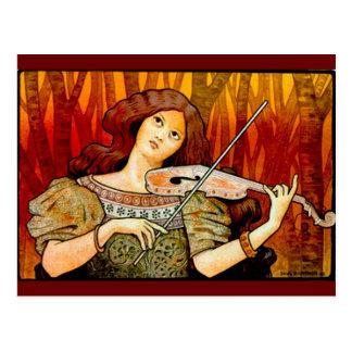 Lecons Music Violin Vintage Poster Postcard