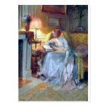 Lecture de femme par la peinture d'antiquité de la carte postale