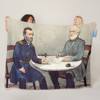 LEE and GRANT at the APPOMATTOX COURT HOUSE Fleece Blanket