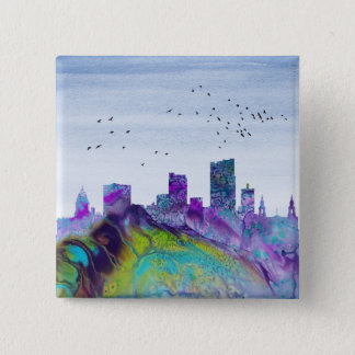 Leeds Skyline 2 Inch Square Button