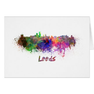 Leeds skyline in watercolor card