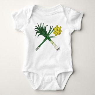 Leek and Daffodil Crossed Baby Bodysuit