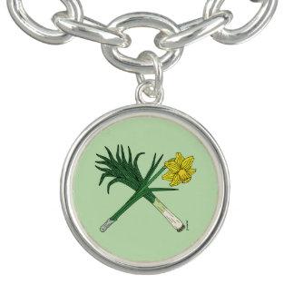 Leek and Daffodil Crossed Charm Bracelet