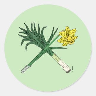 Leek and Daffodil Crossed Round Sticker