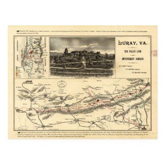 Lee's Map of the Valley of Virginia (1890) Postcard