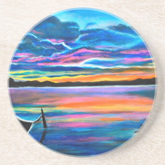 Left alone a seascape boat painting coaster