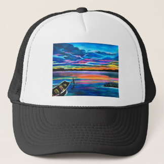 Left alone a seascape boat painting trucker hat
