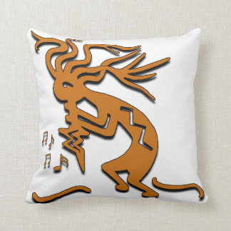 Left Facing Kokopelli Musician Throw Pillow