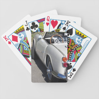 Left side of an old british classic car bicycle playing cards