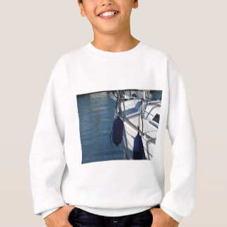 Left side of sailing boat with two blue fenders sweatshirt